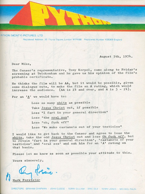 Monty Python and the Holy Grail Censorship Letter: We Want to