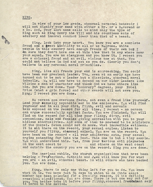 mlk uncovered letter