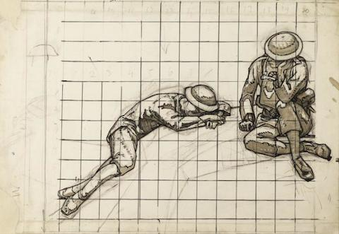 Squared-up drawings of soldiers 1920-1921 by David Jones 1895-1974