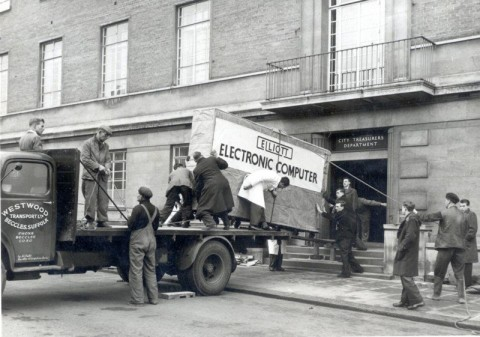 delivering-an-elliott-405-computer-in-1957-black-and-white-norwich