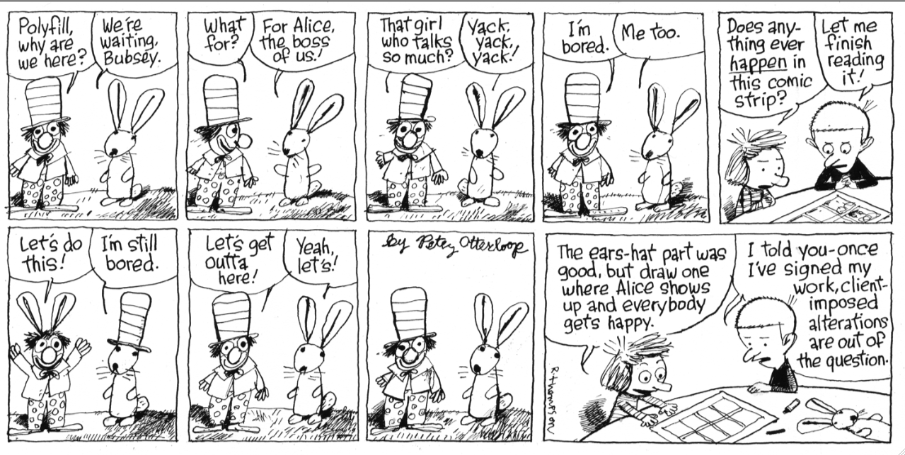 comics inspired by waiting for godot featuring tintin roz chast cartoonist richard thompson summoned godot for a strip in a strip installment of his popular syndicated cul de sac click the image above to view it in
