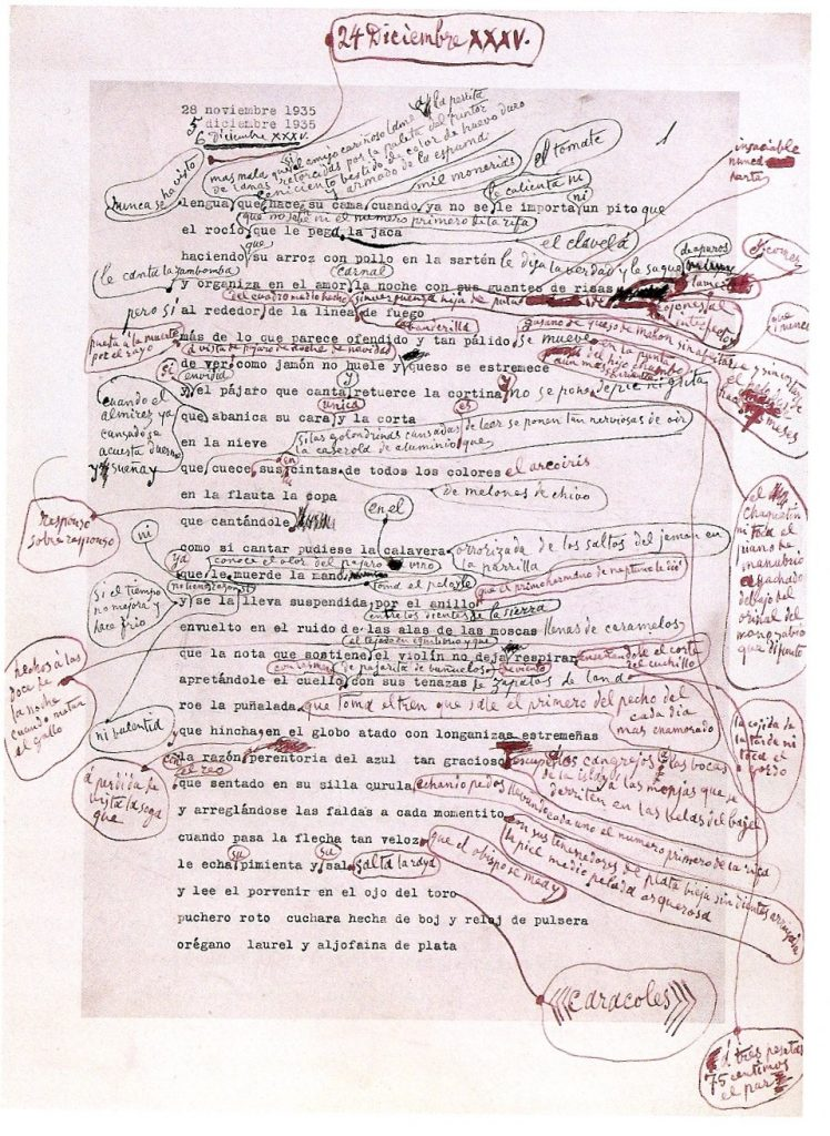 Picasso, annotated poem manuscript, December 24, 1935