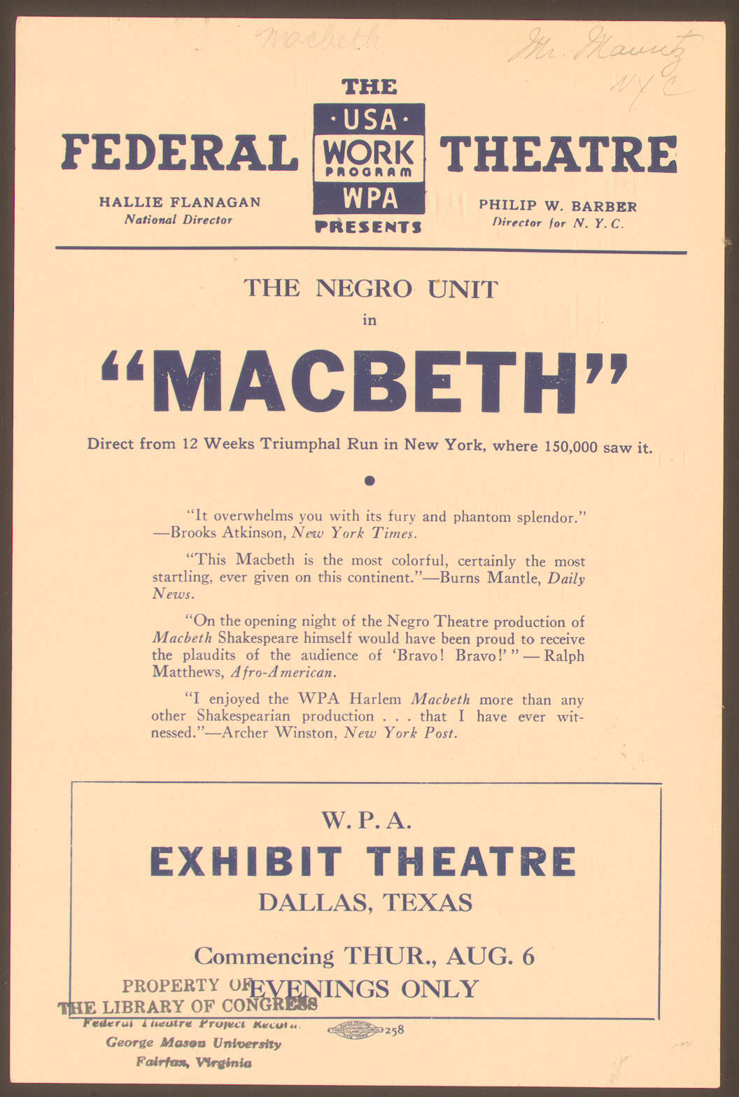 Voodoo Macbeth Playbill
