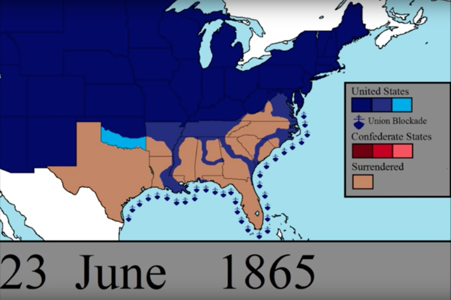 Animated Map Lets You Watch The Unfolding Of Every Day Of The US - Map of us in may 1861