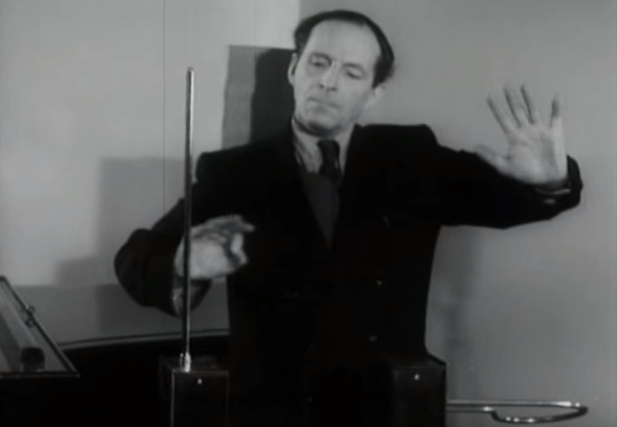 Soviet Inventor Léon Theremin Shows Off the Theremin, the Early Electronic Instrument That Could Be Played Without Being Touched (1954)