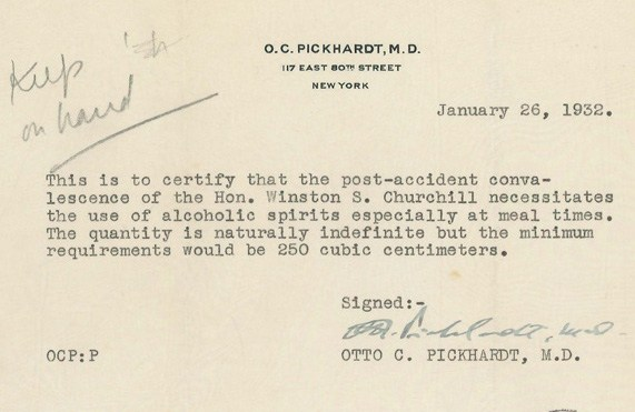 winston churchill gets a doctor u0026 39 s note to drink  u0026quot unlimited