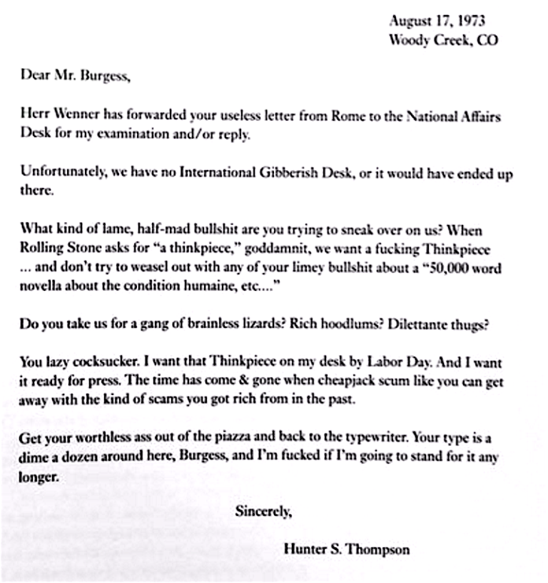 hunter s thompson writes a blistering over the top letter to