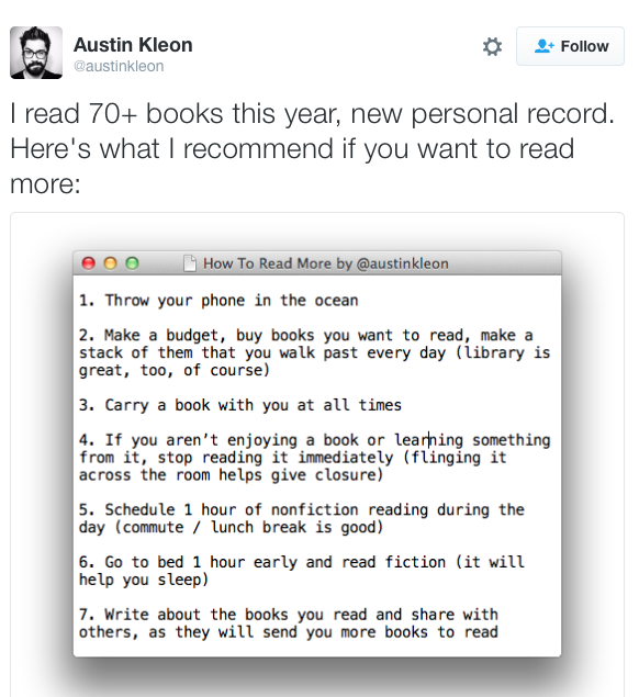 kleon reading tips