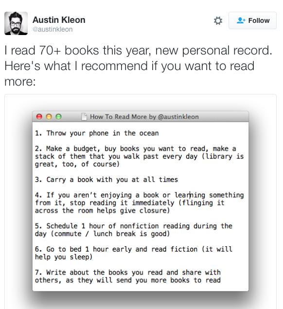 kleon reading tips
