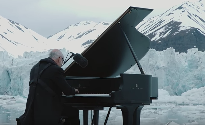Italian Pianist Ludovico Einaudi Plays a Grand Piano While Floating in the Middle of the Arctic Ocean